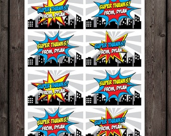 superhero favor tags, superhero thank you tags, superhero tags, party tags, comic words, customized name tags,  superhero thank you tags,