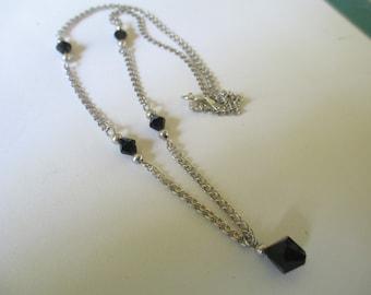 Vintage signed tag 925 SLI silver  black crystal beaded necklace used