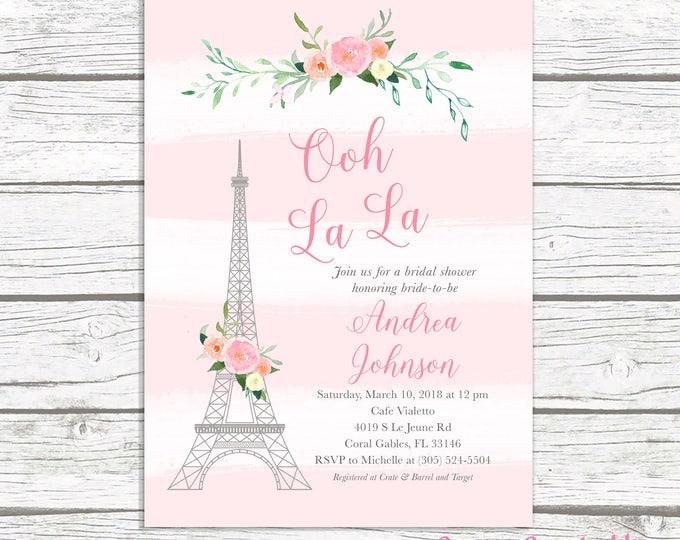 Paris Bridal Shower Invitation, French Bridal Shower Invitation, Eiffel Tower Bridal Shower Invitation, Ooh La La, Parisian Themed Invite
