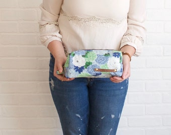 Anne Blue Floral Box Bag, Repurposed Bag, Travel Bag, Cosmetic Bag, Makeup Bag, Recycled Bag, Artist Pouch, Pencil Pouch, Mother's Day Gift