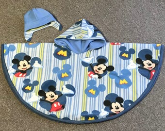 Reversible Layered Carseat Poncho with Hat Set-Mickey/Blue- baby/toddler/child- Car Seat Cape