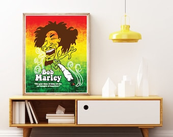 BOB MARLEY Poster. Wailers - Rastafarian Reggae Poster, Smoking Cannabis Jamaican Woodbine!