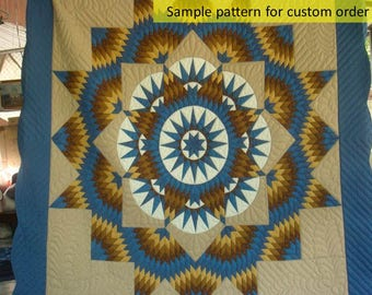 Turquoise star quilt, Broken star quilts, Patchwork, Amish Quilts, Amish Patterned quilt, Handstitched, Earth tone, Beige/tan Homemade quilt