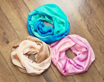 """Ombre 100% Silk Scarf, Choice of Color, 26 x 68"""" Scarf, Silk Scarf, Ombre Scarf, Beige Pink or Blue"""