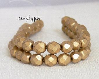 Matte Satin Gold, Czech Beads Fire Polished 6mm 25 Matte Metallic Gold Faceted Round GLass