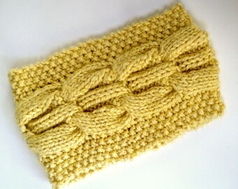 Cowl Bulky Cornsilk Yellow Hand Knit Cable