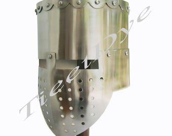 Medieval Crusader Helmet Templar Knight Helmet Black Finish   Liner