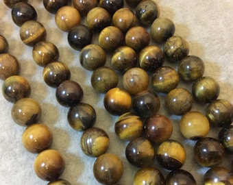 """10mm Smooth Golden Brown Tiger Eye Round/Ball Shaped Beads - 15"""" Strand (Approximately 38 Beads) - Natural Hand-Strung Gemstone Bead Strand"""