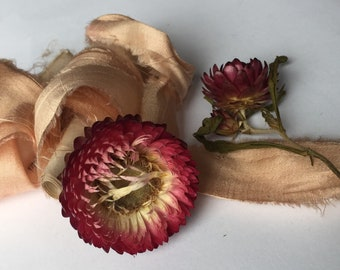 PEACH BLUSH plant-dyed recycled sari silk ribbon//hand-dyed//silk ribbon//wedding//bridal//stationery//eco-dye//gift//styling//peach//pink