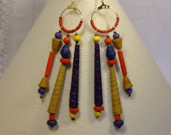 Dangle earrings, ethnic style, paper rolled beads, handmade beads, paper wood, purple yellow reds.