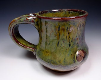 Oak Leaf and Acorn Handmade Pottery Mug Ceramic Stoneware Rustic Glazing