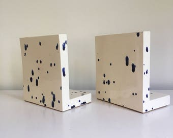 Vintage White Ceramic Bookends with Blue Splatter