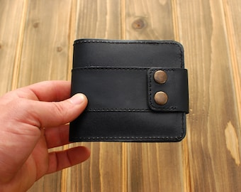 Personalized bifold wallet ,Leather bifold wallet,Coin pocket wallet ,Leather wallet with two buttons,Gift for men,Gift for him,
