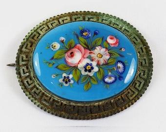 Antique Glass Enamel Painted Miniature Brooch