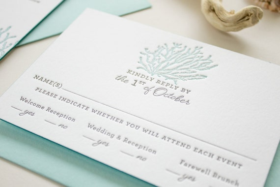 Beach Wedding Invitations In Blue Letterpress On Thick Paper With Edge Painting Coral Reef Invitation SAMPLE