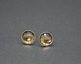 Faceted Smoky Quartz Studs - Sterling Silver