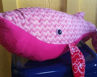 Pink Red White Stuffed Humpback Whale Toy