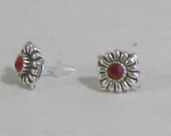 Small Red Silvertone Stud with Silver Plate Posts