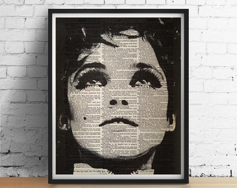 EDIE Sedgwick 1960s Factory Girl New York Mod Warhol Art Print Poster Black and White Wall Decor Vintage Dictionary Page
