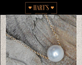 Cultured Pearl Solitaire 14K Gold Necklace