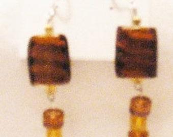 Earrings Coffee Brown Tiger Long Dangle, Long Glass Earrings, Long Brown Earring, Long Tigar Earrings, Jungle Earrings by CindyDidit  OOAK
