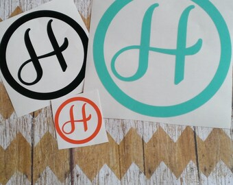 """6"""" Vinyl Monogram Letter with Outer Circle made with outdoor vinyl. Personalized decal for your laptop, Ipad, car, water bottle etc."""