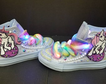 Custom made Unicorn Converse sneakers with lights and bling