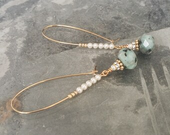 Gold Kiwi Jasper & Pearl Hoop Earrings