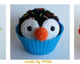 Dutch crochet pattern: cupcake koala, pinguin and lion
