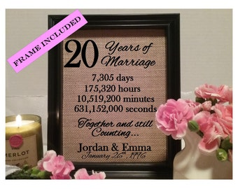 Framed 20th Anniversary Gift | 20th Wedding Anniversary Gifts | Personalized 20th Anniversary Gift | Anniversary Gift for Wife Husband