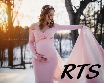 Ready to Ship Maternity Gown-Maternity Dress for Photo Shoot-Baby Shower Dress-Long Sleeve Maternity Dress-Maxi Gown-ABIGAIL Dress-RTS
