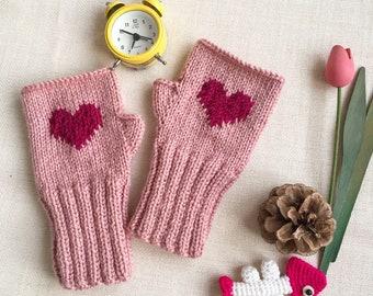 Heart Gloves, Girl Gift, Special Design, Hand Warmers, Women Gift, Winter Accessories, Fingerless Gloves, Hand Knit Gloves, Christmas Gift,