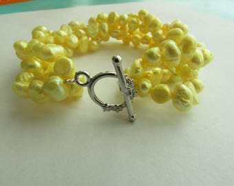 4 Twisted Yellow Baroque Freshwater Pearl Bracelet,Yellow Bracelet,4 Twisted Pearl Bracelet,Pearl Bracelet,Yellow Pearl Bracelet