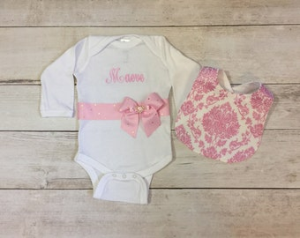 Personalized Baby Girl Bodysuit and bib