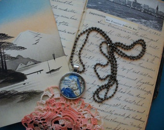 Stamp Jewelry, Stamp Necklace, Vintage Stamp, Stamp Pendant, Pendant Necklace, One of a Kind, Audubon Blue Jay Stamp, MarjorieMae