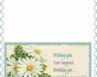 Daisies and Pansies  Birthday card inserts with verse