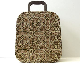 Vintage Hat Box Suitcase Gold  - Vintage Vinyl Wig Tote with Handles