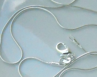 12 - 16 inch silver plated 1mm snake chains