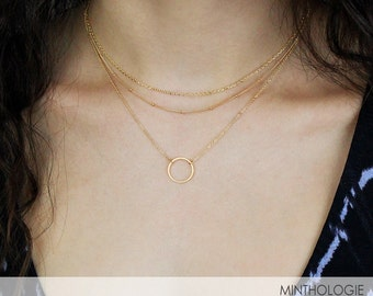 Karma Necklace RN103 • Open Circle Necklace, Circle Necklace, Gift For Her, Simple Necklace, Everyday Necklace, Circle Outline Necklace