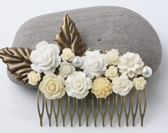 Bridal hair comb, Floral comb, headpeice, flower hair comb, ivory hair comb, vintage hair comb, rustic wedding hair accessories, gift