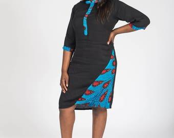 Chiffon and Africa Stoned Print Shift Dress
