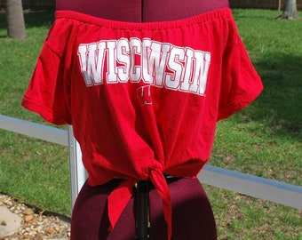 Wisconsin Badgers Shirt Upcycled Off Shoulder Cropped with tie Waist, One Shoulder Size M-L