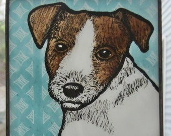 Jack Russell puppy Stained Glass Dog Suncatcher JRN210