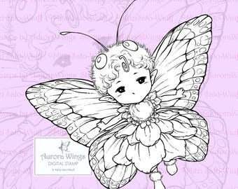 PNG Digital Stamp - Butterfly Sprite with Fancy Wings - Whimsical Insect Fairy - Fantasy Line Art for Cards & Crafts by Mitzi Sato-Wiuff