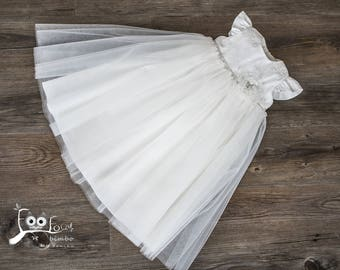 tulle christening gown with flower and cristals, white or ovory