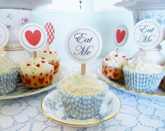 Alice in Wonderland cupcake toppers printable Eat Me cupcake toppers DiY birthday party baby shower PDF files