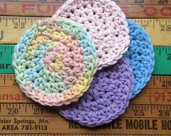 Set of Four Face Scrubbies, Eco Friendly,  Reusable Face Cloth, Makeup Remover Pads, 100% Cotton, Hand Crocheted, No Waste, Machine Wash Dry
