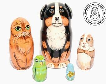 Happy Pets Nesting dolls for Kids, Matryoshka Doll 11 cm  5pcs, Wood Animals, Gift for Kids, Kids Gift, Animal Toys, Kids Room Decor