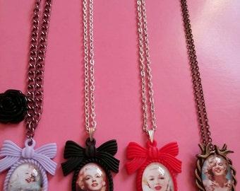 Marilyn Monroe cameo necklace handmade 4 variations