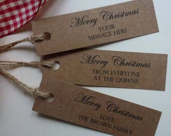 Personalised Merry Christmas Vintage Style Kraft Gift Tags Labels with Twine
